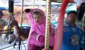 Evelyn celebrate's her 2nd birthday on the Carousel at the Akron zoo