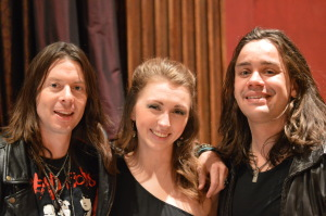 Rock journalist, Rachel Montgomery with Shawn Soho (left) and Alex Donaldson (right) of Crash Midnight.