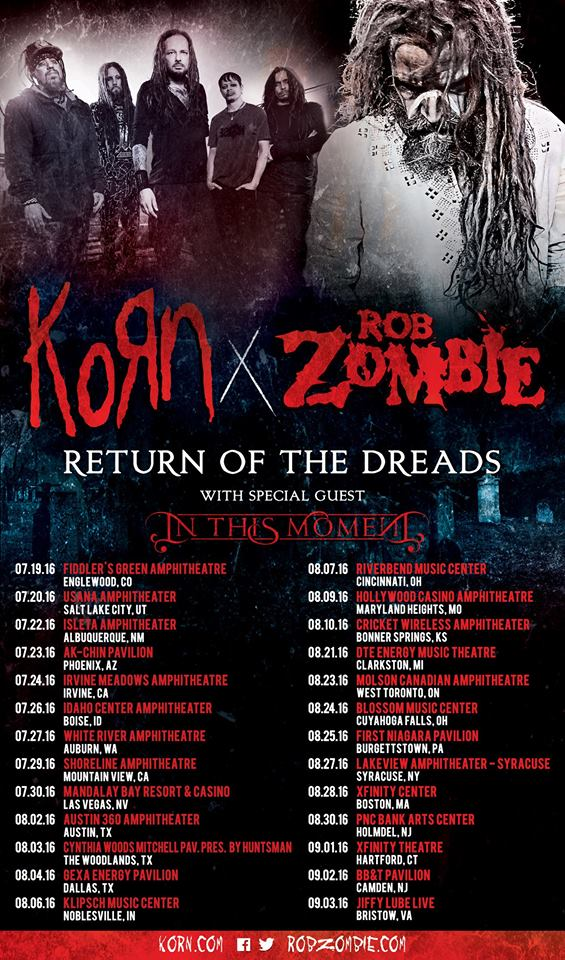Return Of The Dreads Tour Featuring Korn Rob Zombie And